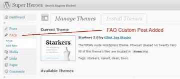 Custom post added to dashboard