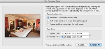 """To set your images to a specific time, choose the first option on the """"Edit Capture Time"""" dialog and choose the time to set your images to."""