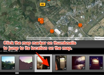 Click the map marker icon on images on the filmstrip to jump the spot on the map where the image was made.