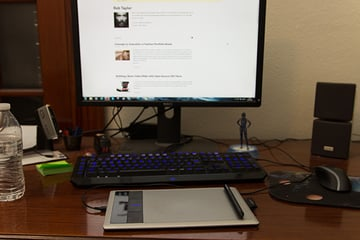 graphics tablet on a computer work desk
