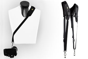 Two different Black Rapid system A single sling system on the left and a double-camera harness system on the right