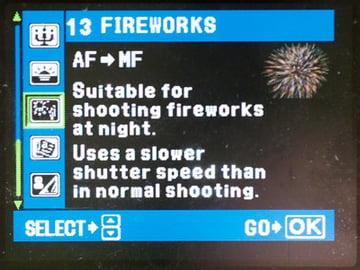 Fireworks menu