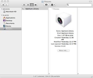 importing files to aperture