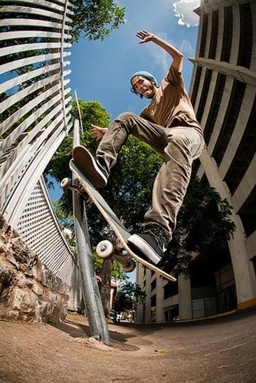 Low-angle wide-angle skateboard photo