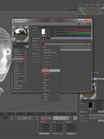 Material editor reflection setting - Fresnel texture