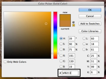 Solid color adjustment settings