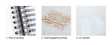 Wire-O, Thermographic and UV varnish