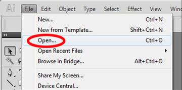 open a file in illustrator