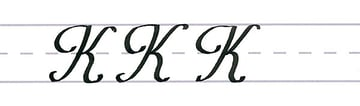 roundhand script - uppercase k multiples