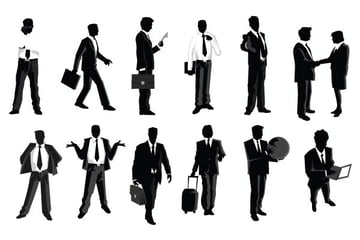 free vector businessmen silhouettes with props