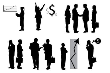 vector business people with charts