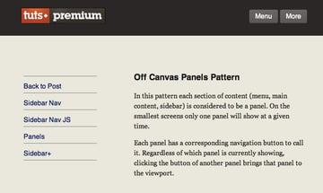 The menu and content panels visible by on medium screens