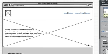An example wireframe created using the Balsamiq Desktop application.