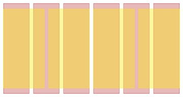 An example of grid overlay - 6 columns with 4 column layout overlaid. Built in Gridset App.