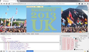 The Elements tab in the Google Chrome Developers tools lets you click on parts of your web page to reveal information about how it has been rendered by the browser