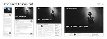 The Great Discontent are well known for their interviews - and their website is a great example of magazine design on the web, as well as being a brilliant example of responsive web design. Screenshots provided courtesy of mediaqueri.es.