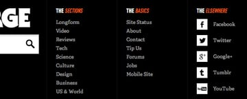 The footer of The Verge makes cleverly use of icons. Here, the icons have a clear added value and it doesn't feel as cluttered.