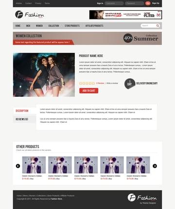 Fashion Store Free eCommerce Layout PSD