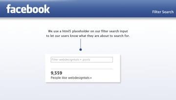 webdesigntuts Facebook app filter search