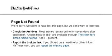 Report broken links at NYT