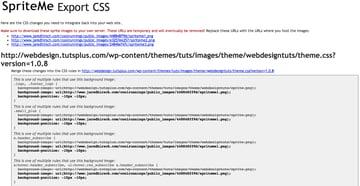 SpriteMe's Export CSS Page