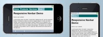 Screenshot of our responsive navbar on an iPhone