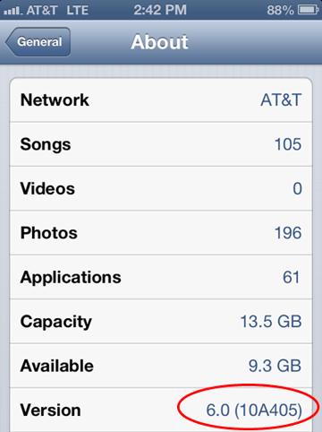 iOS Version Number Screenshot