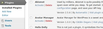 The Avatar Manager plugin under Plugins Screen