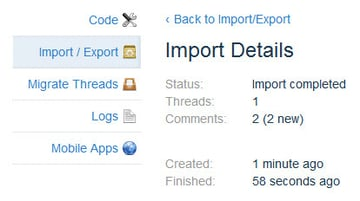 Screenshot 6: Exporting existing comments to Disqus - step 3