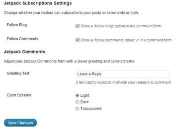 The settings of Jetpack's comment system
