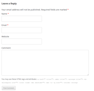 comment form genaral users