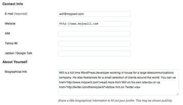 WordPress Profile Page