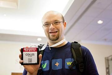 Collis with his lanyard at PressNomics in 2012