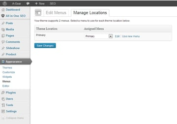 Wordpress Menu Management Page