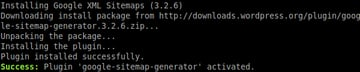 `wp plugin install` output