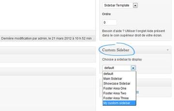 Choosing a sidebar in the custom sidebar meta box