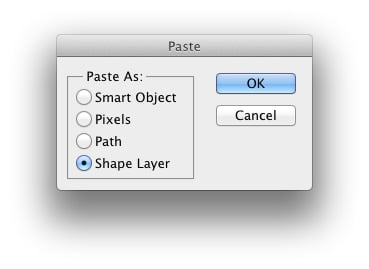 Pasting options in Photoshop