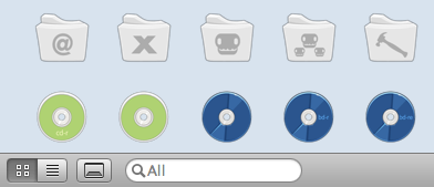 The button to show the iContainers available docks is hidden at the bottom of the window.