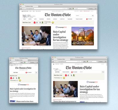 Screenshot of the Boston Globe at three different widths