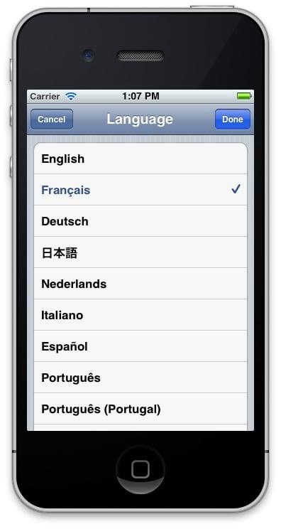 Localization: screenshot of changing language to French