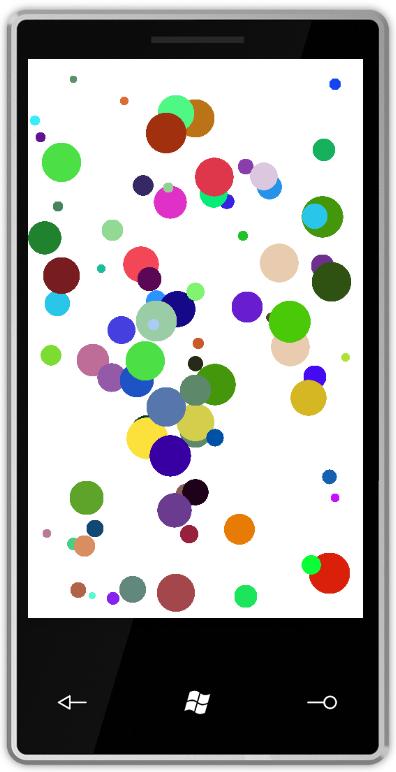 Windows Phone 7 simulator running the bouncing balls app.