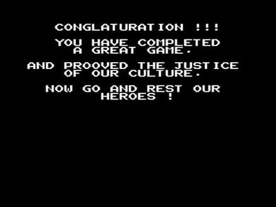 This was a typical ending screen for a NES game, horrible spelling errors and all. (Ghostbusters. Activision 1998)