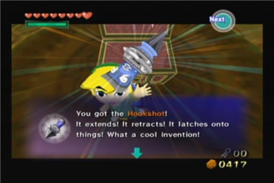 The hookshot, a staple part of going new places in Zelda games. (Image from Hylian Help Desk.)