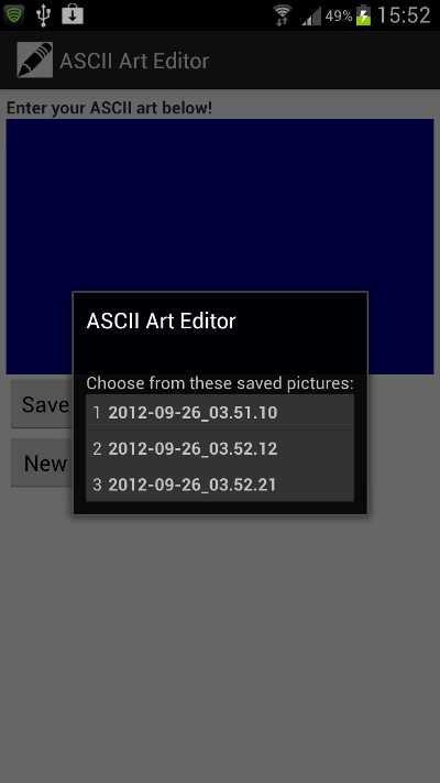 Displaying the List of Stored Pictures