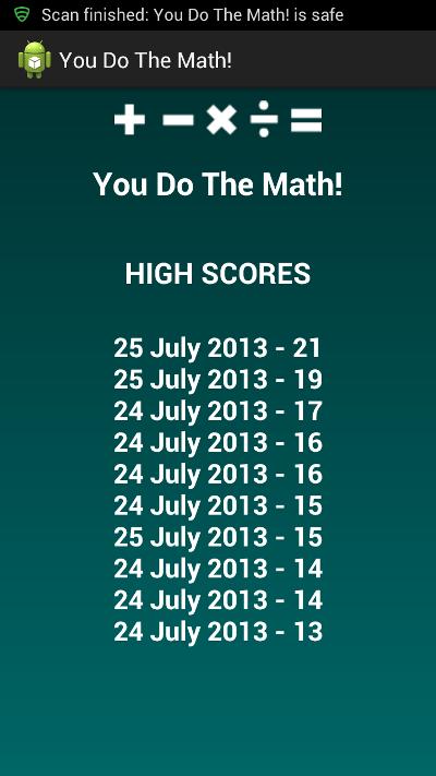 Arithmetic High Scores