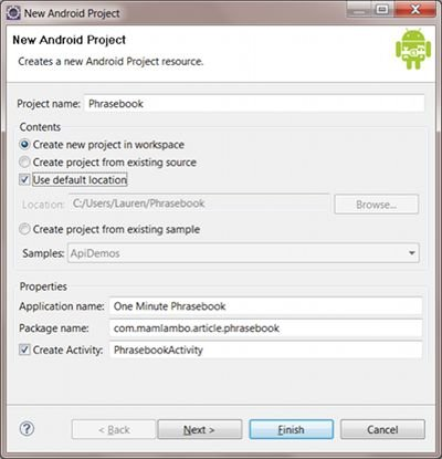 Creating the Android phrasebook project.