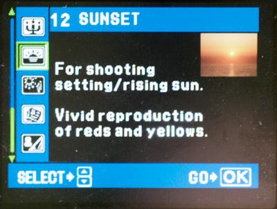 Sunset menu