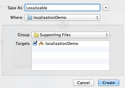 Localization: screenshot of naming the strings file
