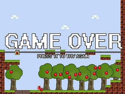 I wanna be the guy, a game were spikes kill you, clouds kill you and apples kill you