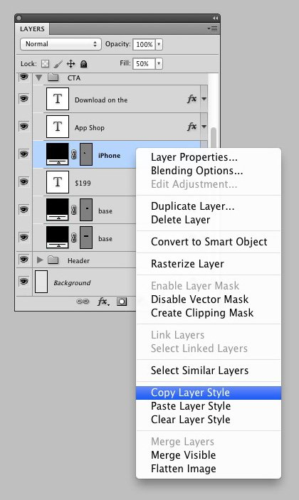 How to copy a layer style
